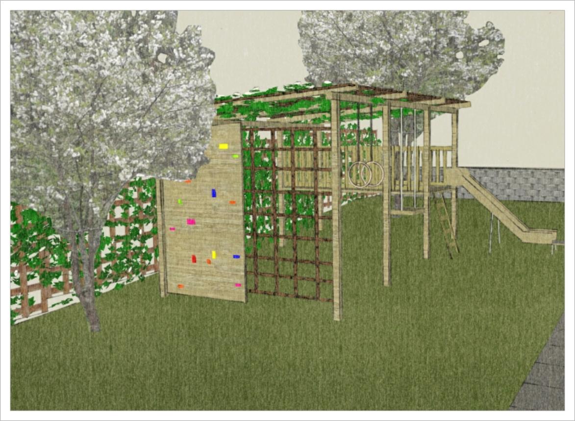 Barnvänlig trädgård i Skövde