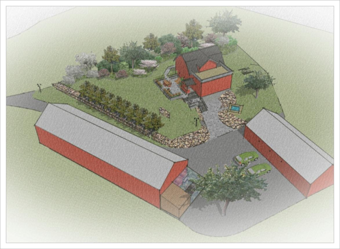 Trädgårdsdesign i lantlig miljö