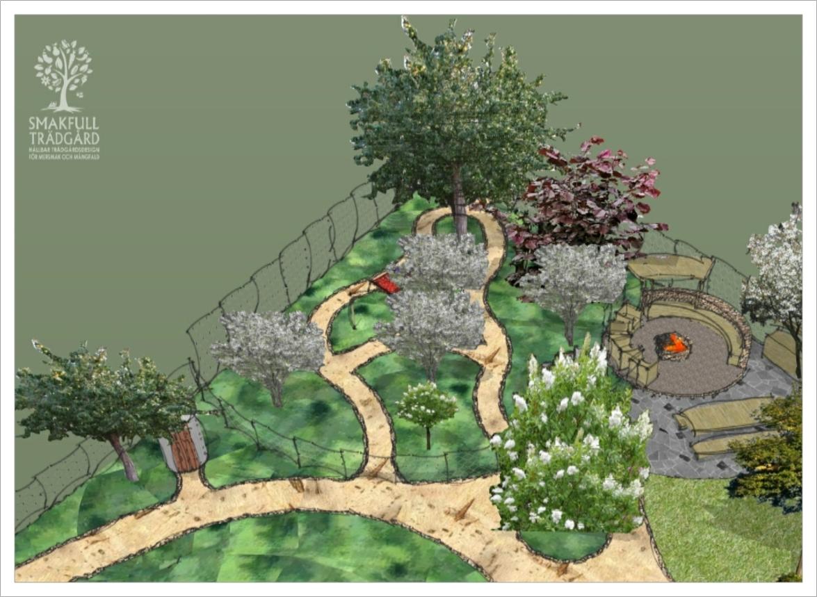 Skogsträdgård och mysig grillplats i Tived